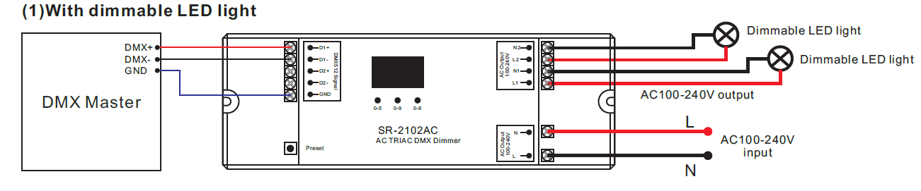 2 Channel AC Triac DMX512 Dimmer SR-2102AC