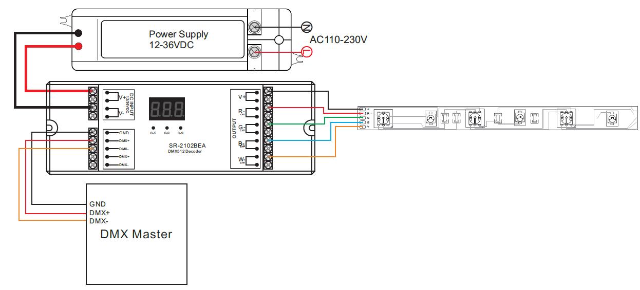 sr 2102b wiring 2 constant voltage dmx512 decoder sr 2102b dmx 512 wiring diagram at edmiracle.co