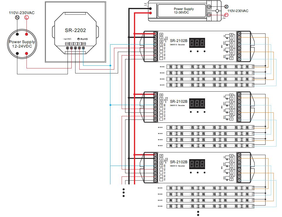 dmx512 rotary single color dimmer master sr 2202. Black Bedroom Furniture Sets. Home Design Ideas
