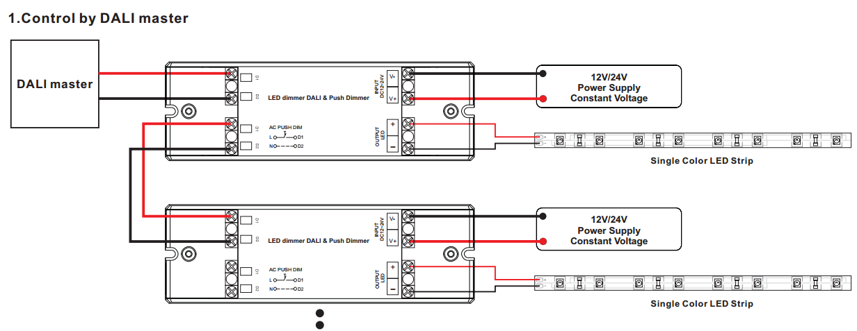sr 2303 push dim dali wiring 1 channel constant voltage dali dimmer & push dim sr 2303 (push dim) wiring diagram for dali dimming at mifinder.co