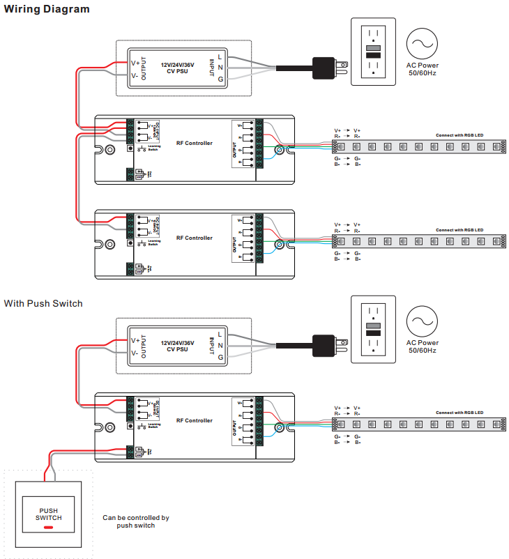 constant voltage 3 channel rf rgb controller sr