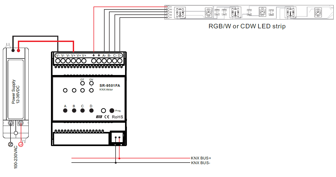 sr knx9501fa wiring constant voltage knx dimmer sr knx9501fa knx wiring diagram at reclaimingppi.co