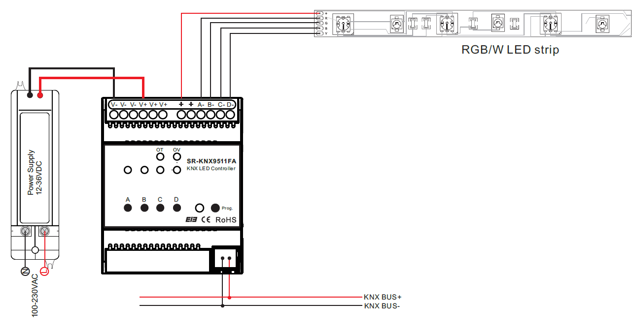 knx connection diagram knx image wiring diagram constant voltage rgbw knx controller sr knx9511fa on knx connection diagram