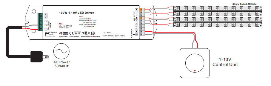 4 Channels Constant Voltage 100w Dimmable 100w Led Driver