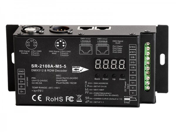 Industrial Level 5 Channel DMX512 & RDM Decoder SR-2108A-M5-5