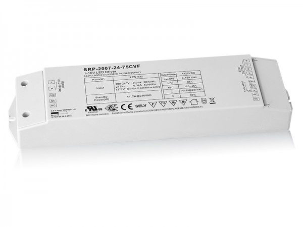 75W 4 Channels Constant Voltage 0/1-10V LED Driver SRP-2007-24-75W-CVF