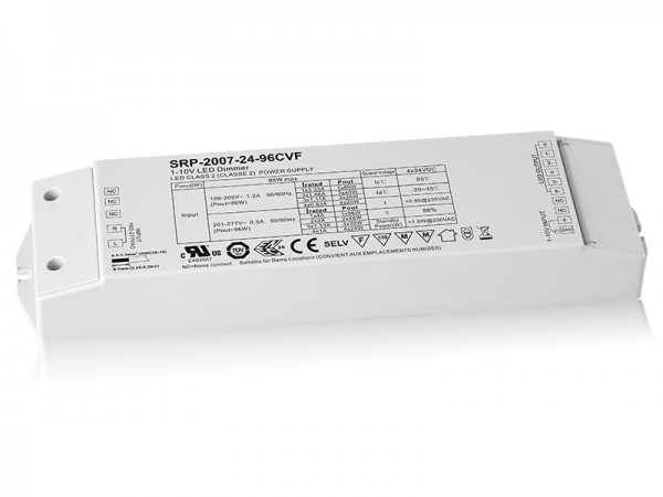 4 Channels Constant Voltage 96W Dimmable LED Driver with 1-10V Interface SRP-2007-24-96W-CVF