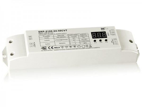 2 Channels DMX 50W Dimmable Constant Voltage LED Driver SRP-2106-50W-CVT