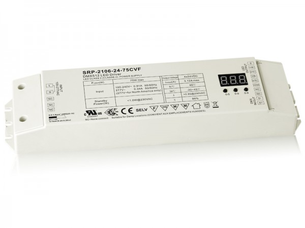 4 Channels DMX 75W Dimmable Constant Voltage LED Driver SRP-2106-24-75W-CVF