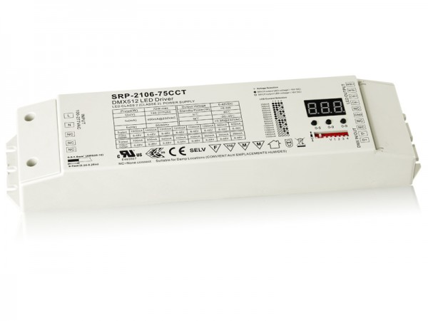 2 Channels DMX 75W Dimmable CC LED Driver SRP-2106-75W-CCT