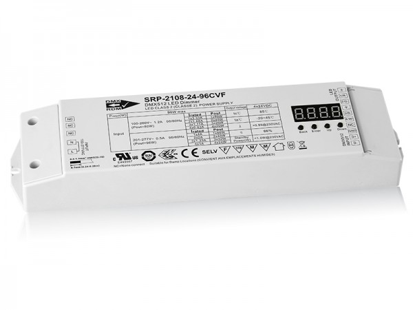 4 Channels Constant Voltage RDM Enabled DMX 96W Dimmable LED Driver SRP-2108-24-96W-CVF