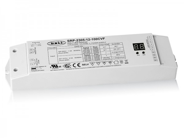 4 Channels Constant Voltage DALI 100W Dimmable LED Driver SRP-2305-12V-100W-CVF