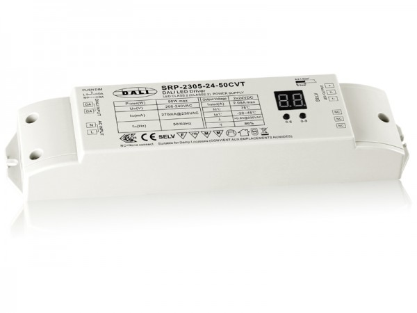 2 Channels DALI 50W Dimmable Constant Voltage LED Driver SRP-2305-50W-CVT