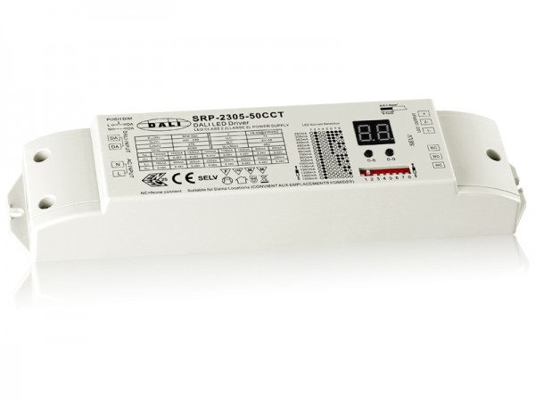2 Channels Constant Current DALI 50W Dimmable LED Driver SRP-2305-50W-CCT