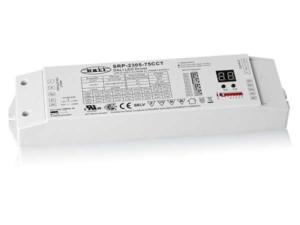 2 Channels Constant Current DALI 75W Dimmable LED Driver SRP-2305-75W-CCT
