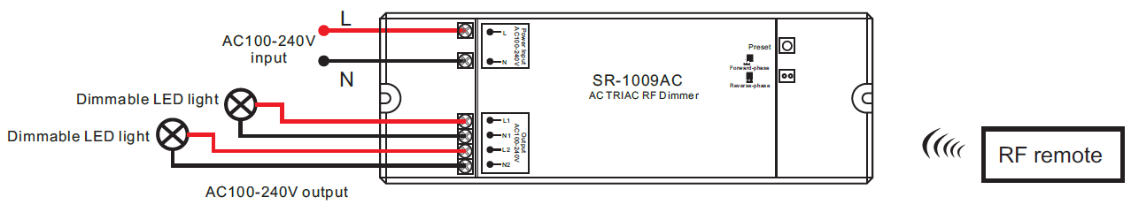 wiring diagram for led dimmer 2 channel ac triac led dimmer switch with rf control sr 1009ac  ac triac led dimmer switch with rf