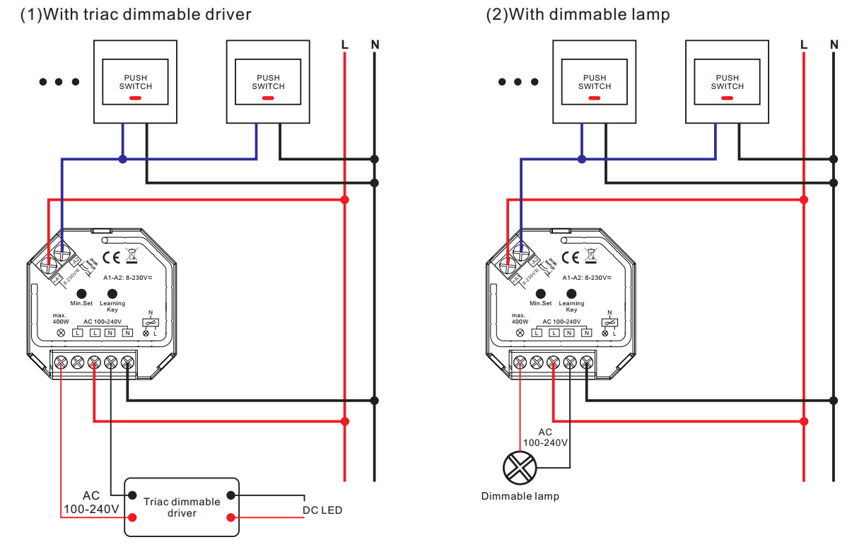 Light To Switch Wiring Diagram Ac Toggle Rf Wifi Control Phase Cut Dimmer With Push Dim Sr 1009sac Hp Home