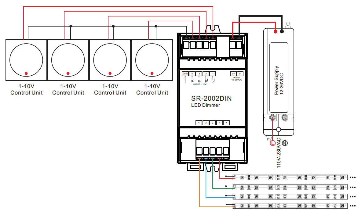 din rail mounted 4 channel 0  1 10v led dimmer switch sr relay switch wiring diagram