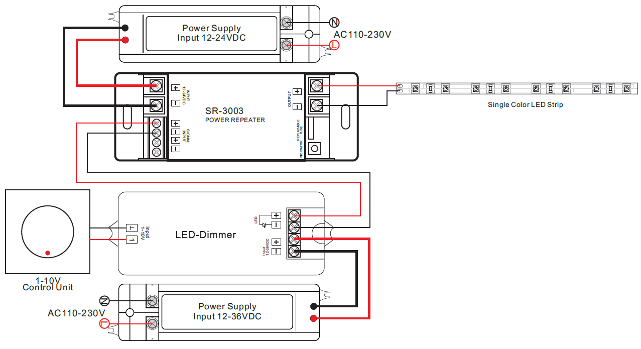 1 Channel Constant Voltage Power Repeater Sr 3003 Led Wiring Diagram 230v