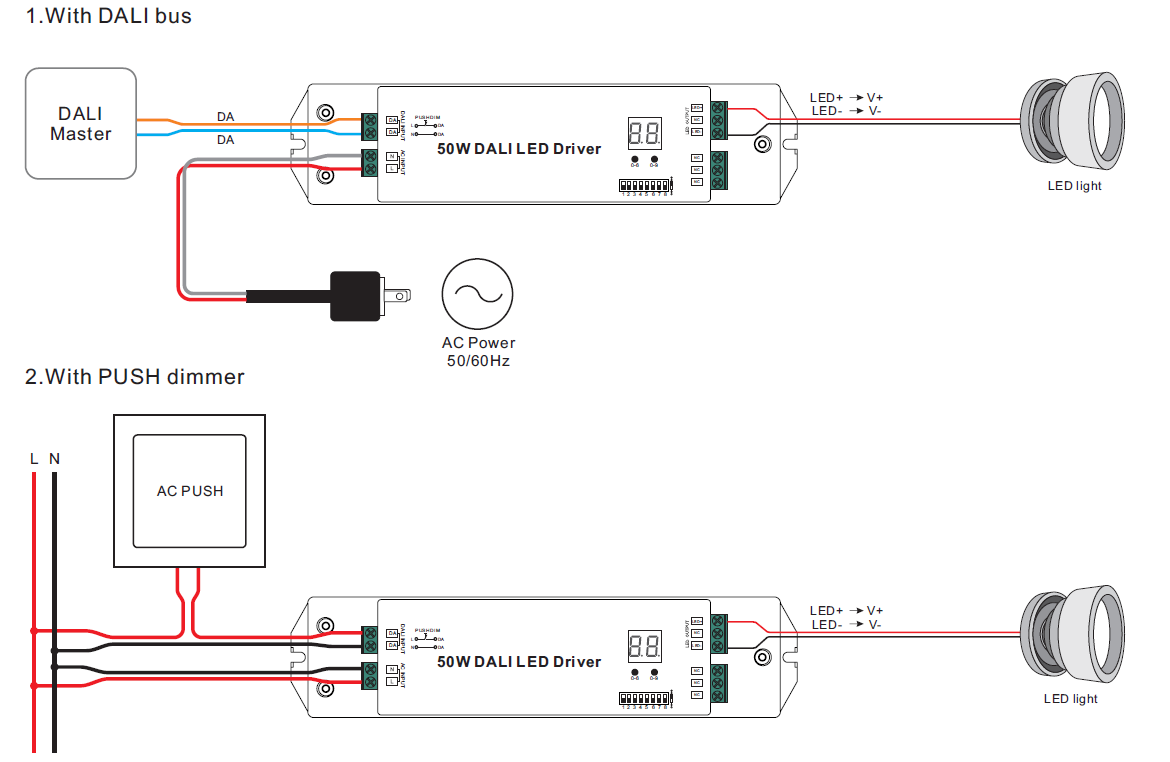 Constant Current DALI Dimming Driver SRP-2305-50W-CC on