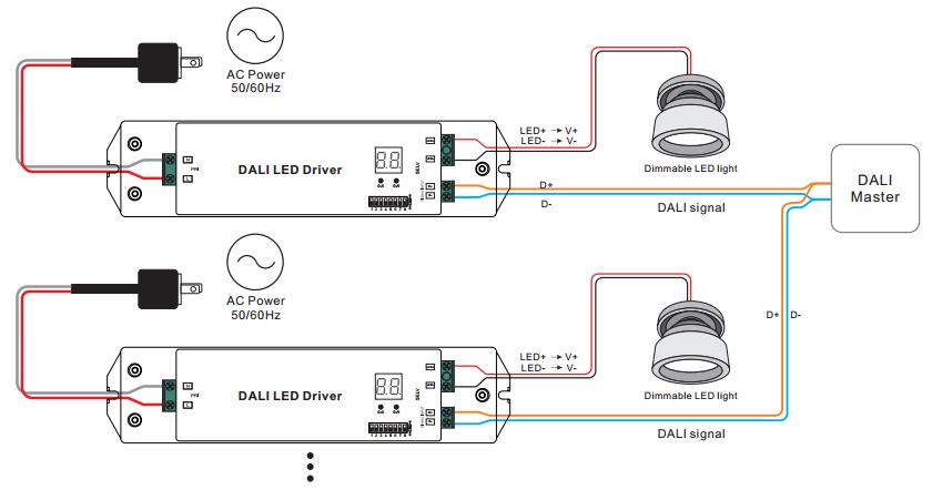 constant current dali dimming driver srp 2305 50w cc rh sunricher com LED Wiring Circuit Diagram LED Light Wiring Diagram